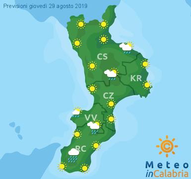 Previsioni Meteo Calabria 29-08-2019