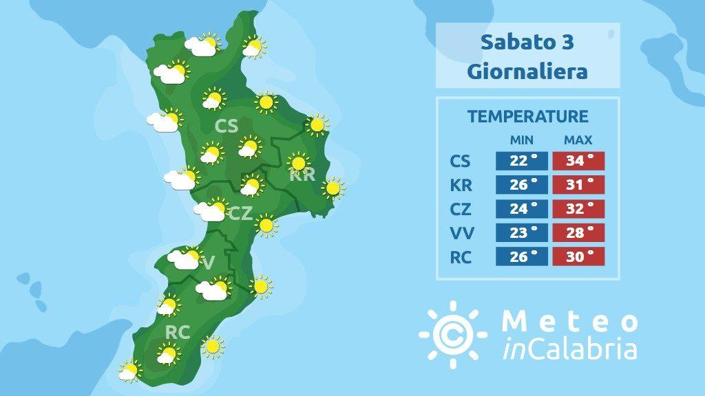 previsione meteo in calabria per sabato 3 agosto 2019