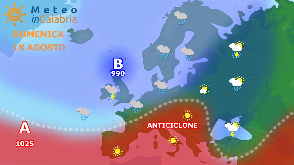sinottica europa calabria domenica 18 agosto 2019