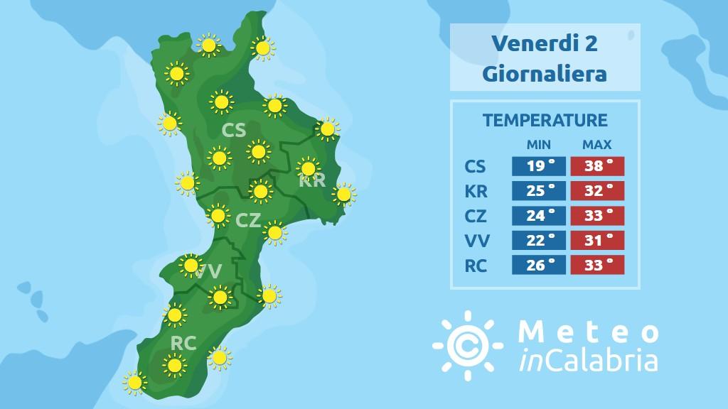 previsione meteo in Calabria per venerdì 2 agosto 2019