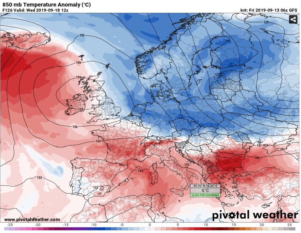 anomalie termiche 850 hPa europa gfs 18 settembre 2019