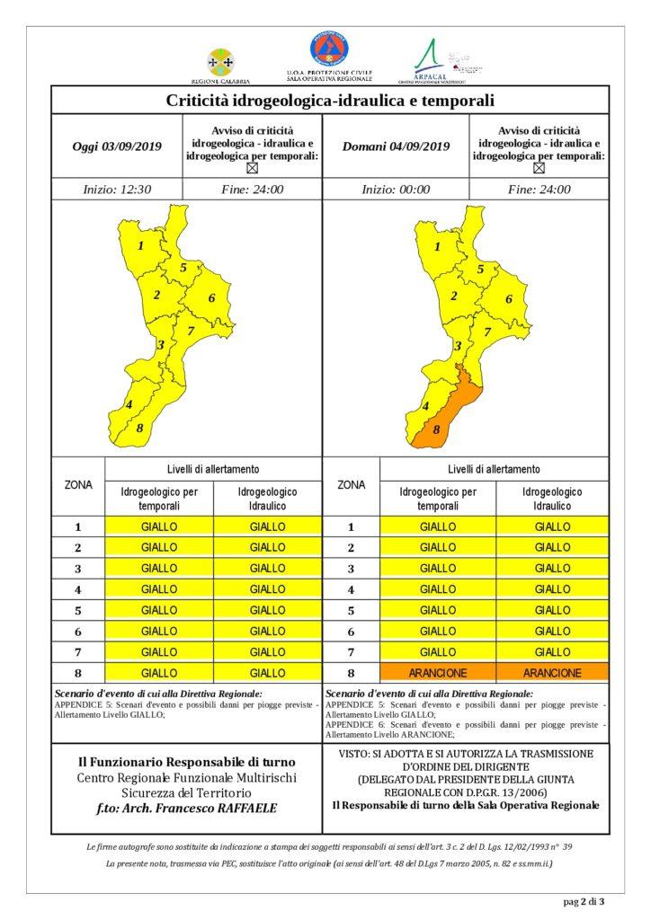 Criticità idrogeologica-idraulica e temporali in Calabria 03-09-2019