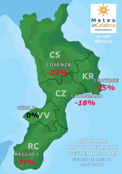 ANOMALIE PIOGGE CALABRIA SETTEMBRE 2019