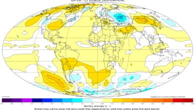 MAPPA ANOMALIE TEMPERATURE GLOBALI SATELLITARI SETTEMBRE 2019