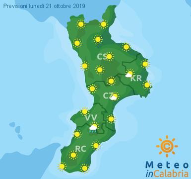 Previsioni Meteo Calabria 21-10-2019