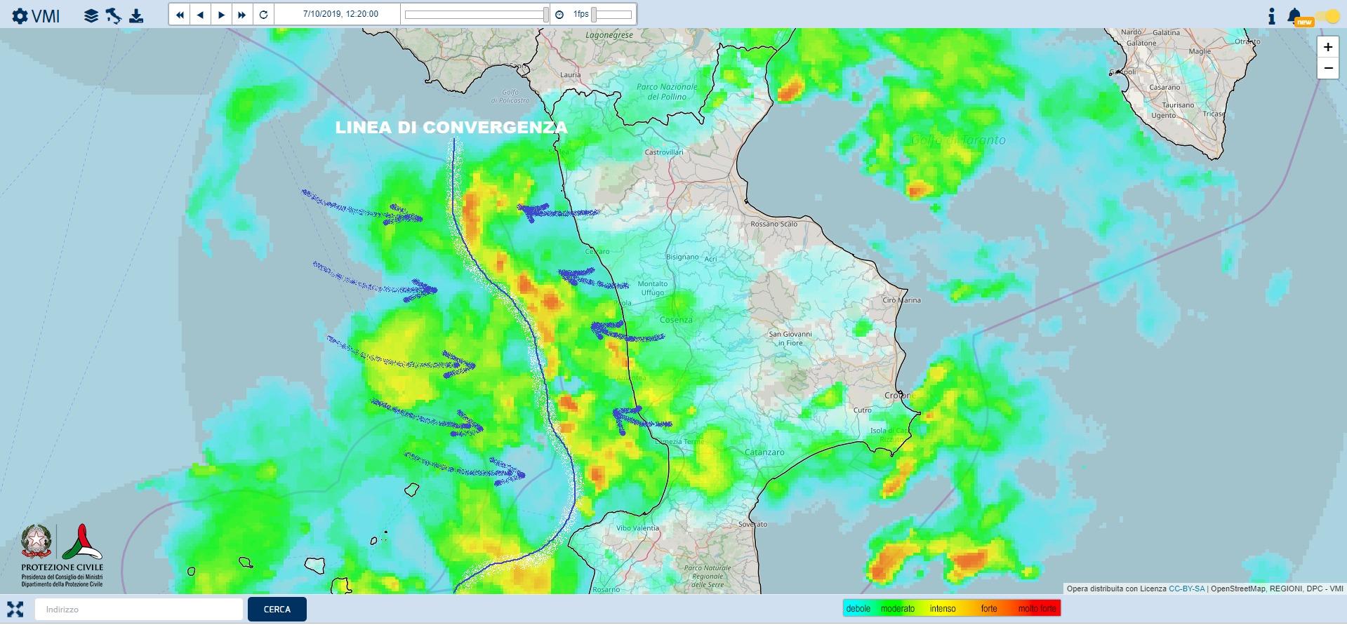radar protezione civile 7 ottobre 2019