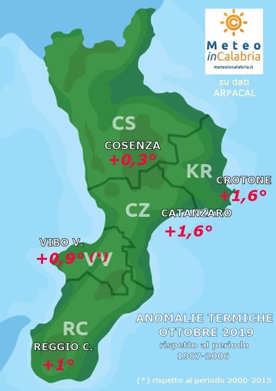 MAPPA ANOMALIE TEMPERATURE CALABRIA ottobre 2019