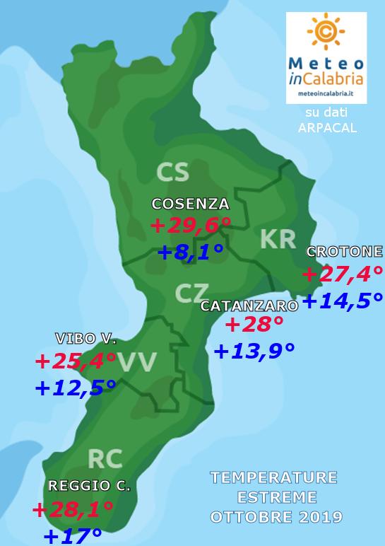 MAPPA TEMPERATURE ESTREME CALABRIA ottobre 2019