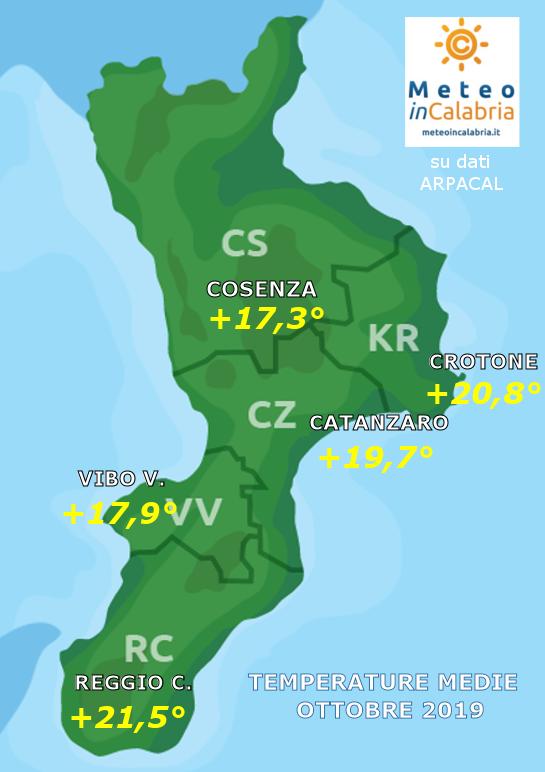 MAPPA TEMPERATURE MEDIE CALABRIA ottobre 2019