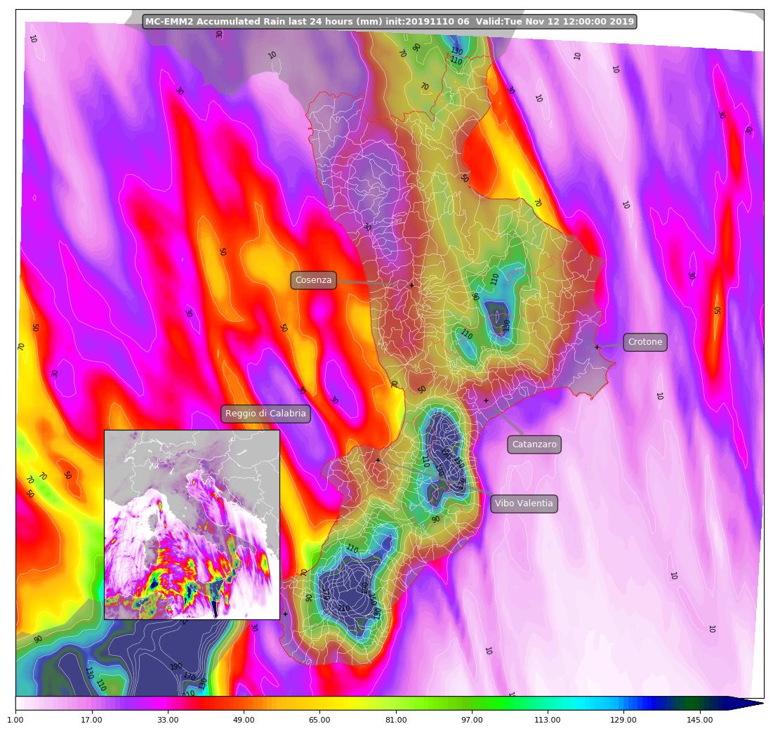 mappa piogge abbondanti lunedì martedì 11 12 novembre 2019