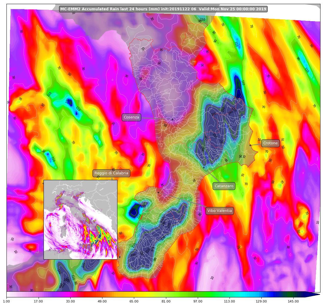 mappa piogge calabria domenica 24 novembre 2019