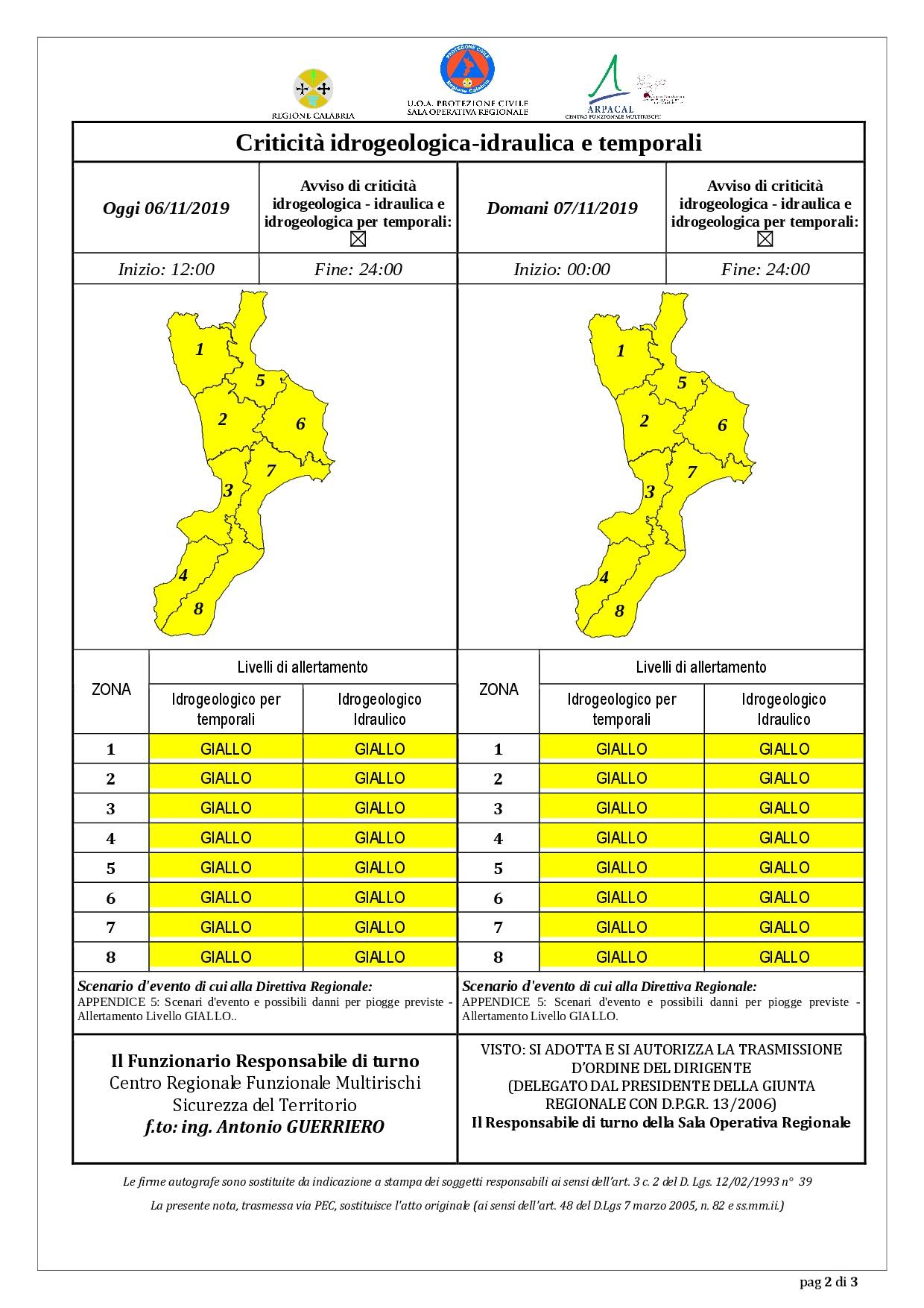 Criticità idrogeologica-idraulica e temporali in Calabria
