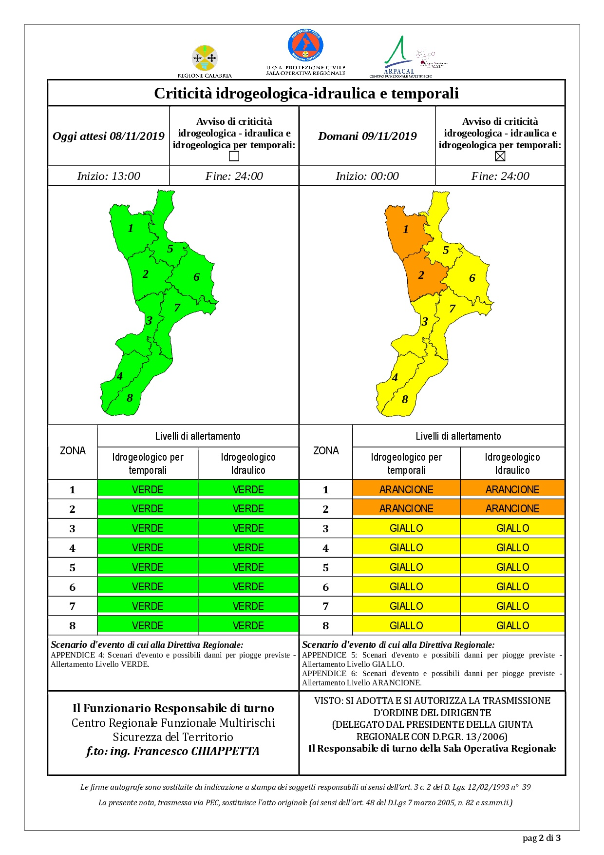 Criticità idrogeologica-idraulica e temporali in Calabria 08-11-2019