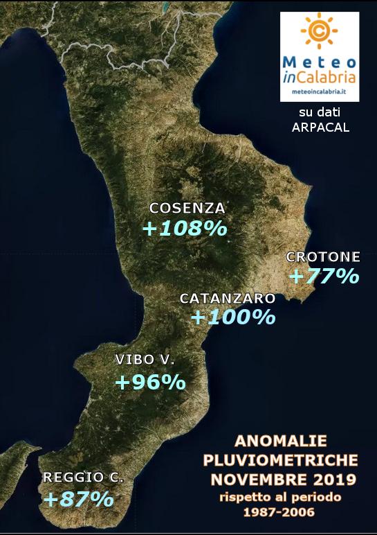 MAPPA ANOMALIE PIOGGE CALABRIA novembre 2019