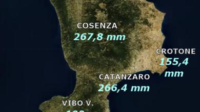 MAPPA PIOGGE CALABRIA novembre 2019
