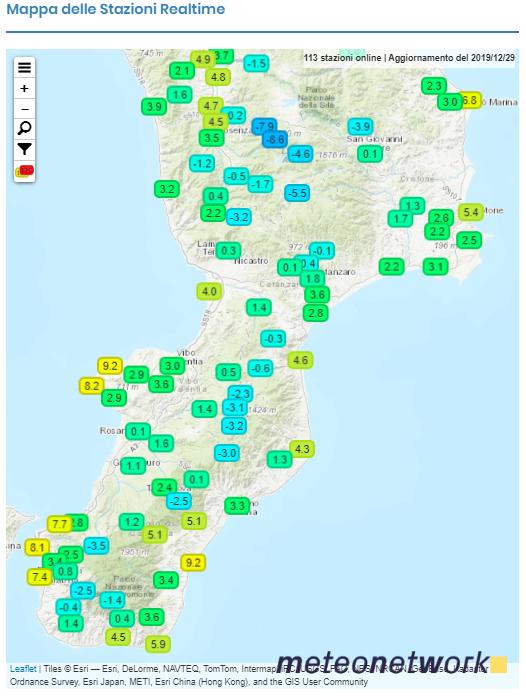 mappa temperature minime Calabria 29 dicembre 2019 sottozero freddo 2