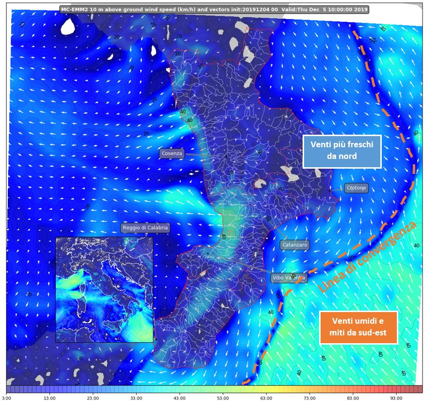mappa venti al suolo wrf calabria 5 dicembre 2019