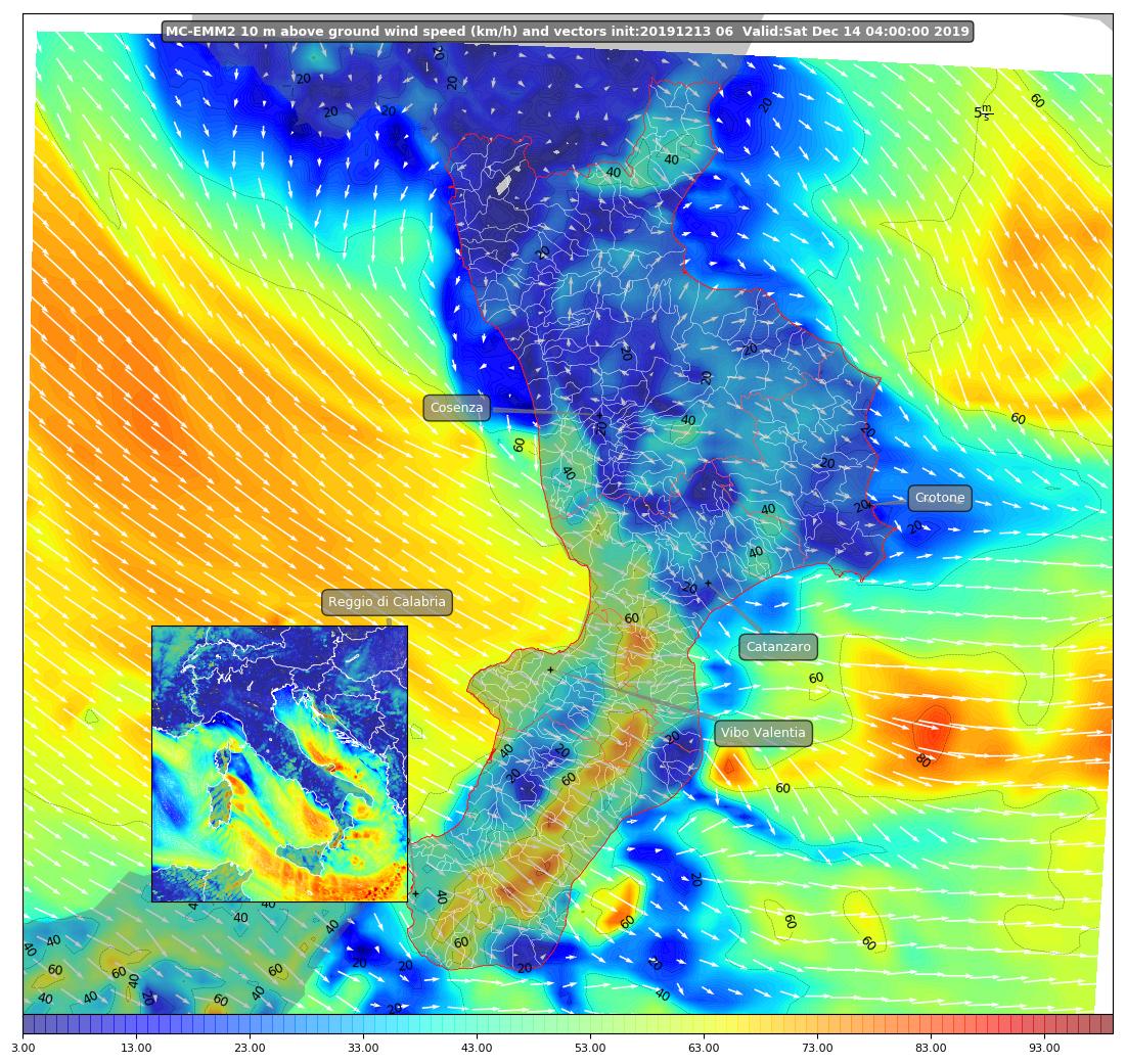 mappa venti wrf calabria 14 diecembre 2019 - burrasca forte (2)