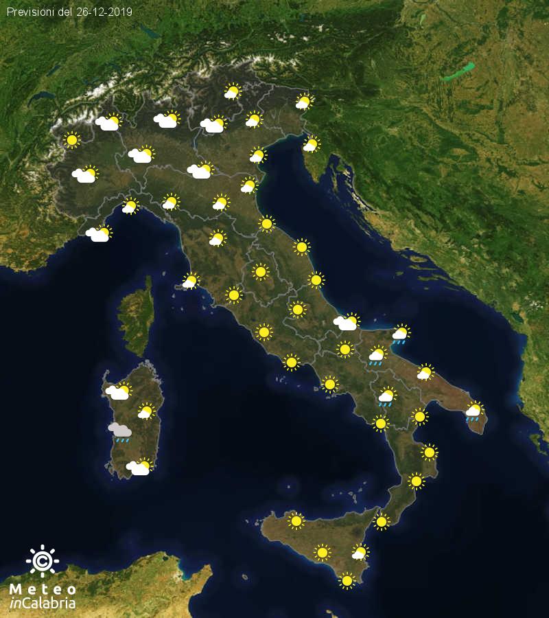 Previsioni del tempo in Italia per il giorno 26/12/2019