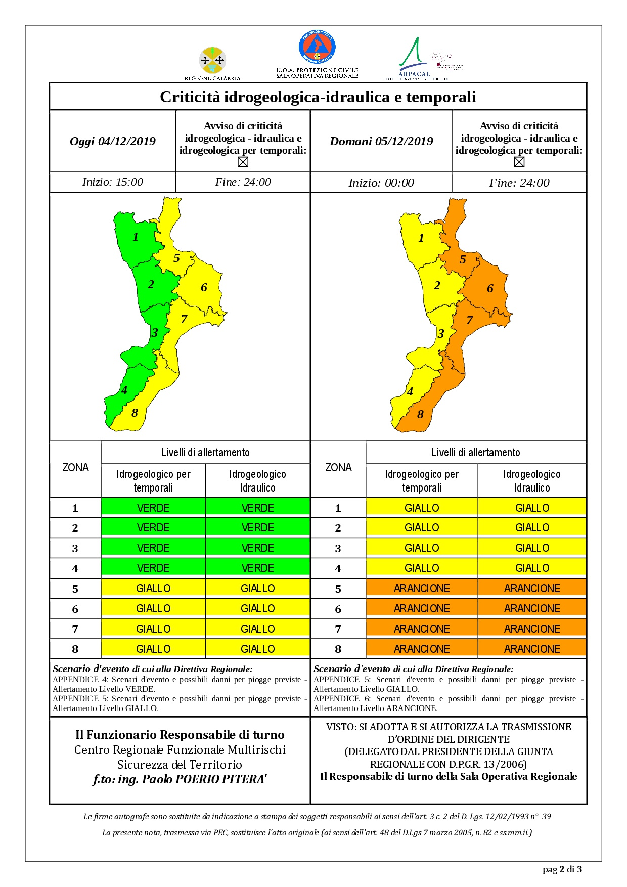 Criticità idrogeologica-idraulica e temporali in Calabria 04-12-2019