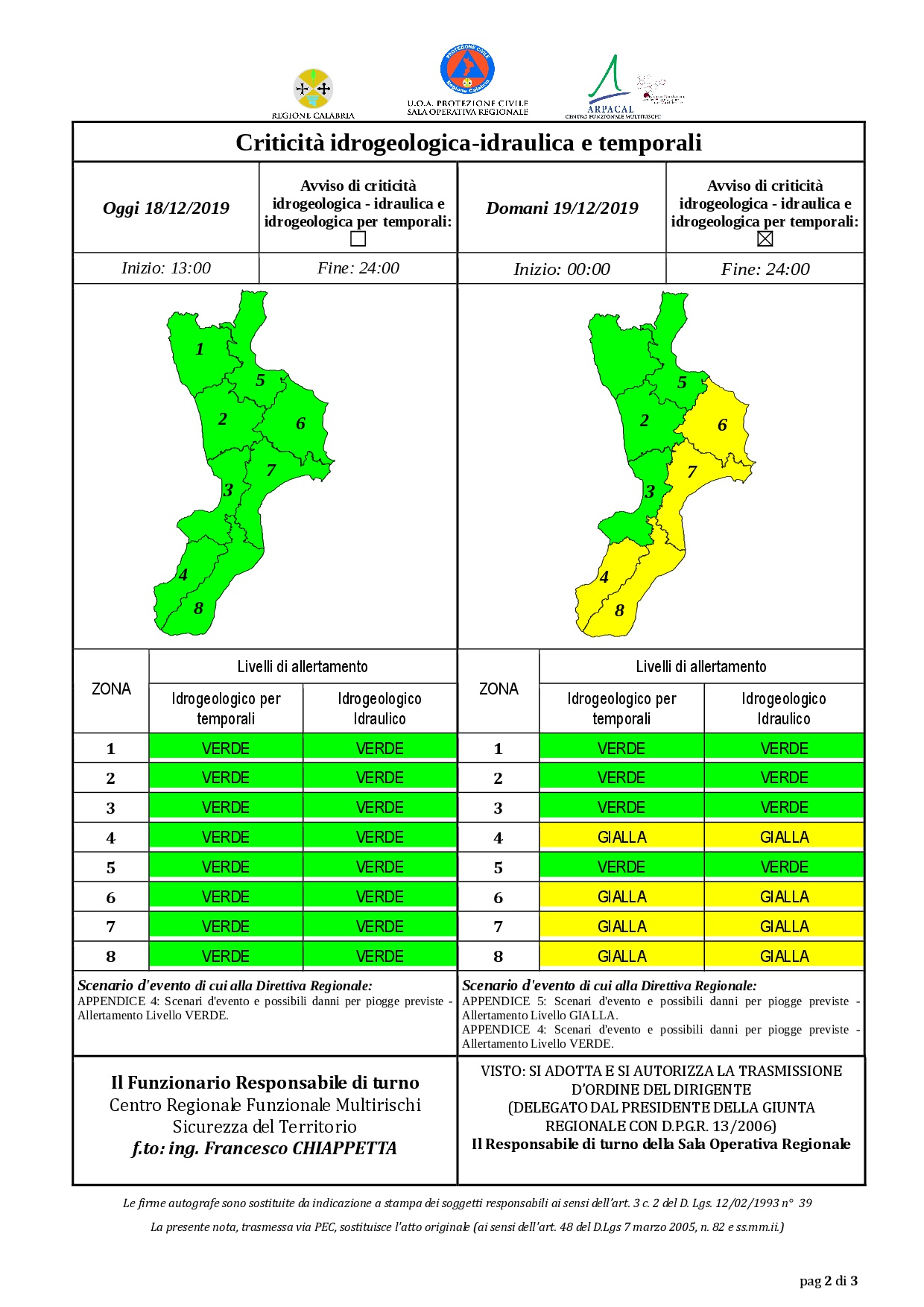 Criticità idrogeologica-idraulica e temporali in Calabria 18-12-2019