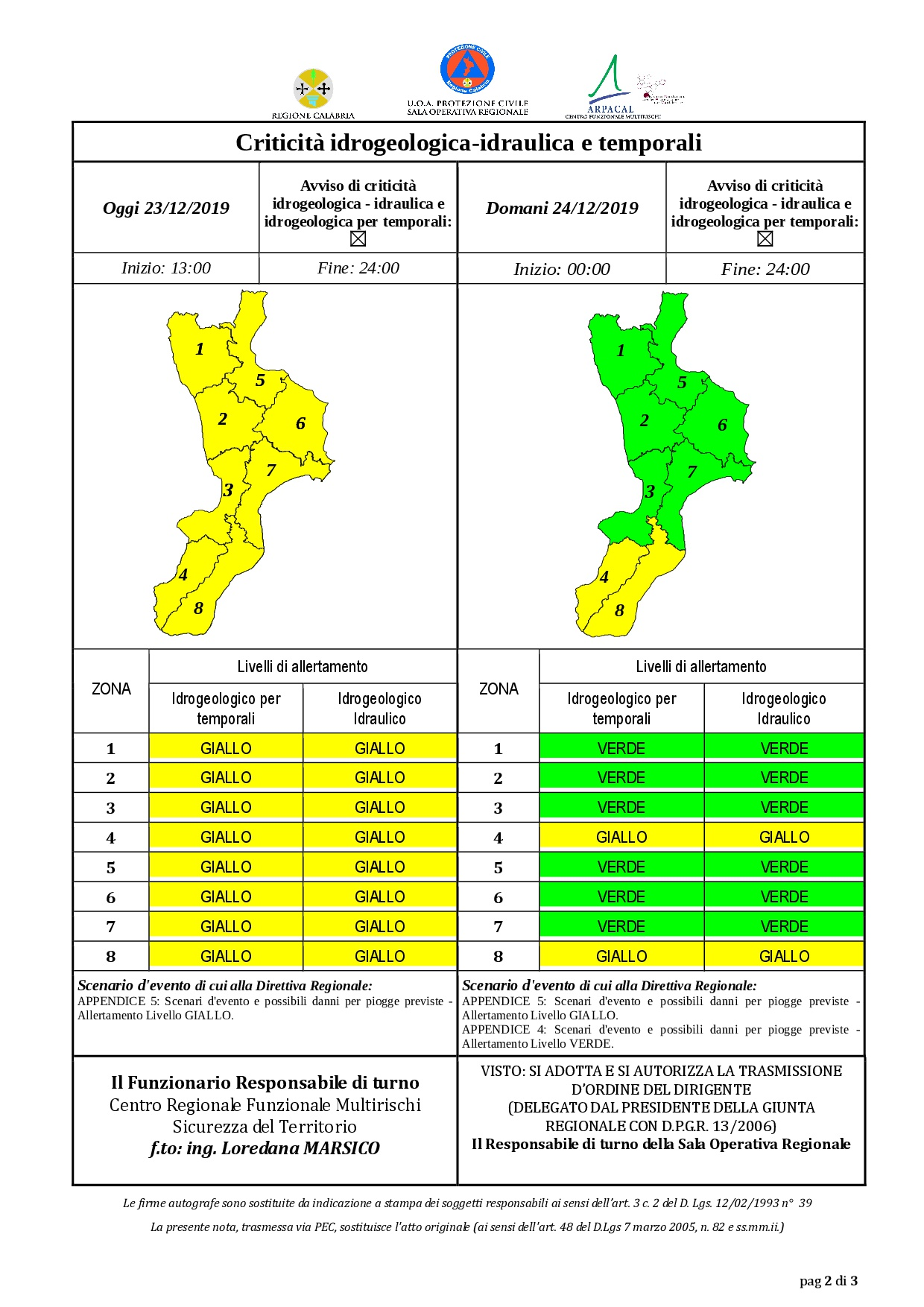 Criticità idrogeologica-idraulica e temporali in Calabria 23-12-2019