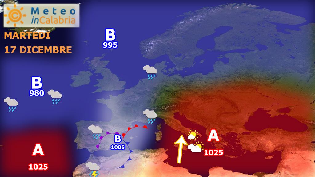 Peggioramento segnatamente ai versanti ionici da mercoledì