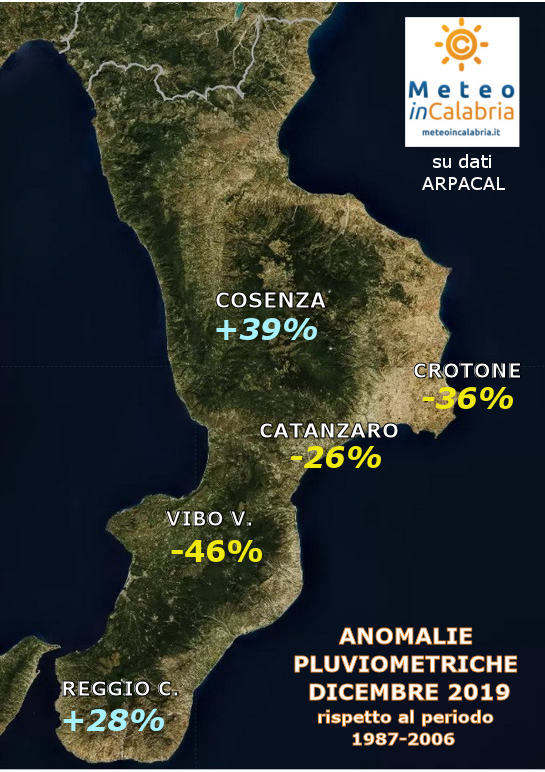 MAPPA ANOMALIE PIOGGE CALABRIA DICEMBRE 2019