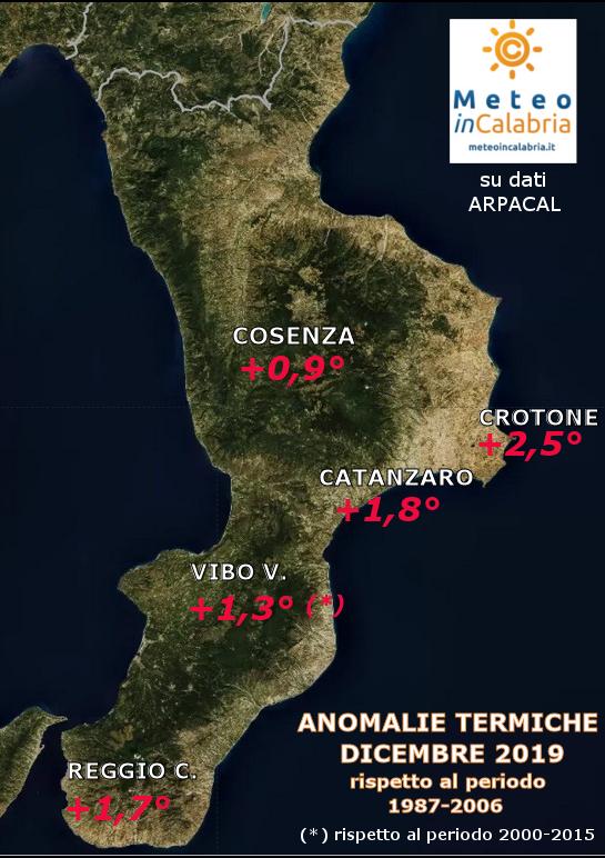 MAPPA ANOMALIE TEMPERATURE CALABRIA dicembre 2019
