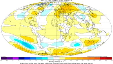 Mappa anomalie temperatura satellite dicembre 2019