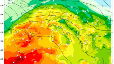 mappa temperature 950 hPa Europa