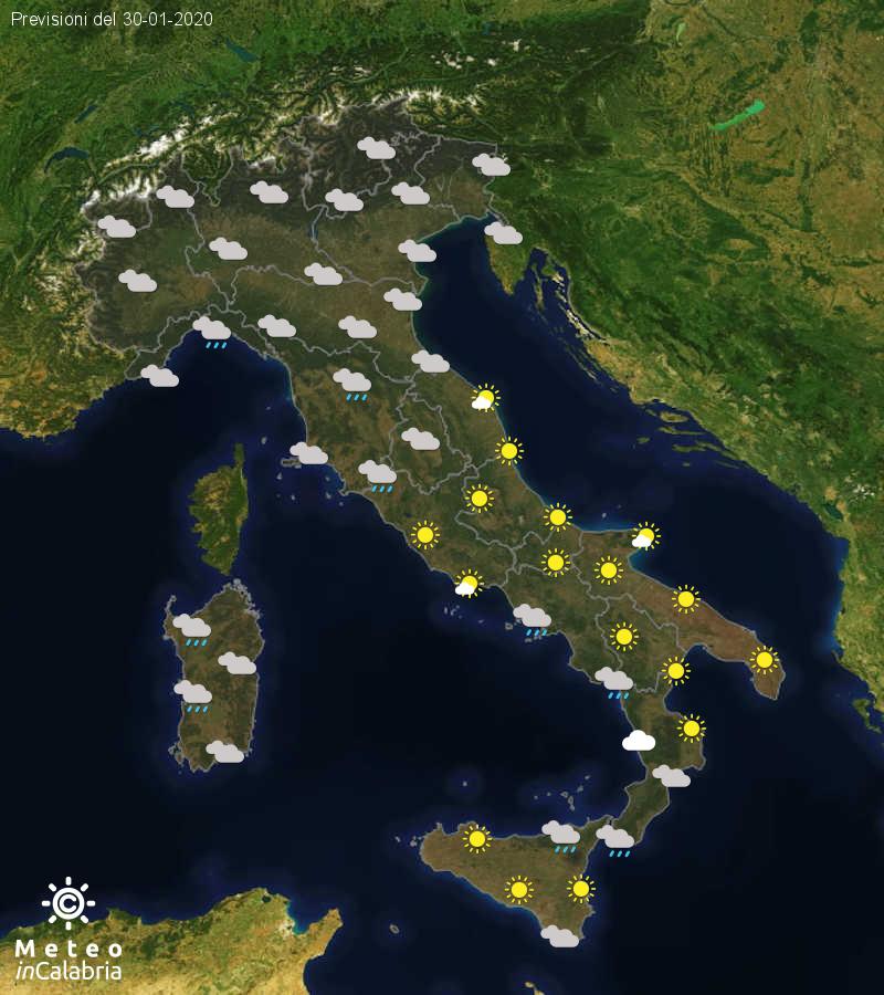 Previsioni del tempo in Italia per il giorno 30/01/2020