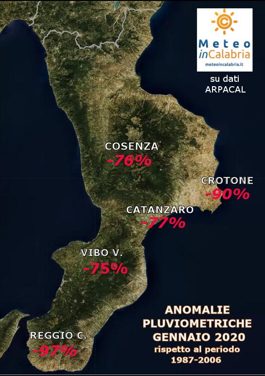 MAPPA ANOMALIE PIOGGE CALABRIA GENNAIO 2020