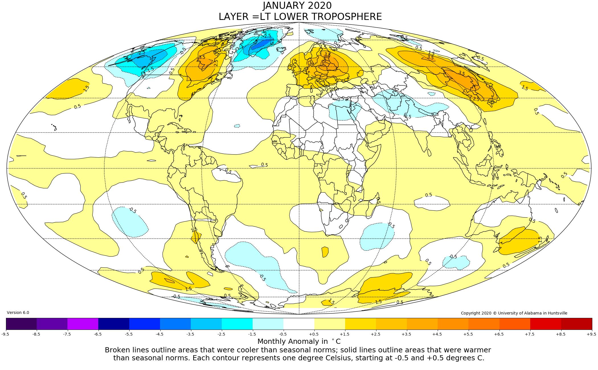 mappa anomalie termiche da satellite - europa caldo gennaio 2020