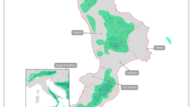 mappa neve calabria 5 febbraio 2020 - a bassa quota