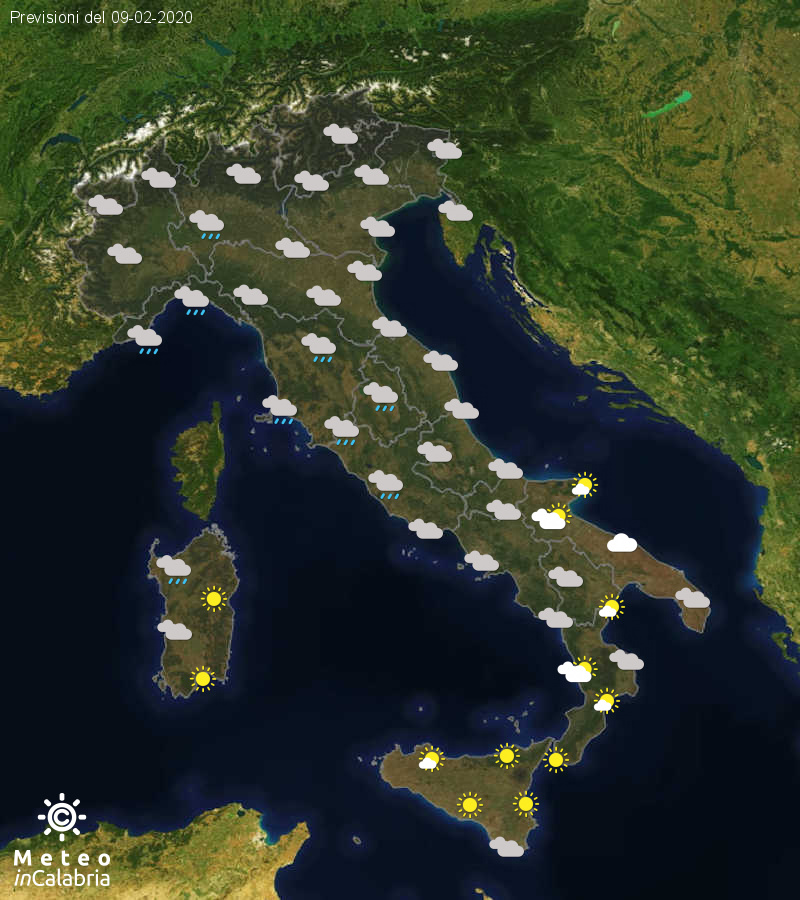 Previsioni del tempo in Italia per il giorno 09/02/2020