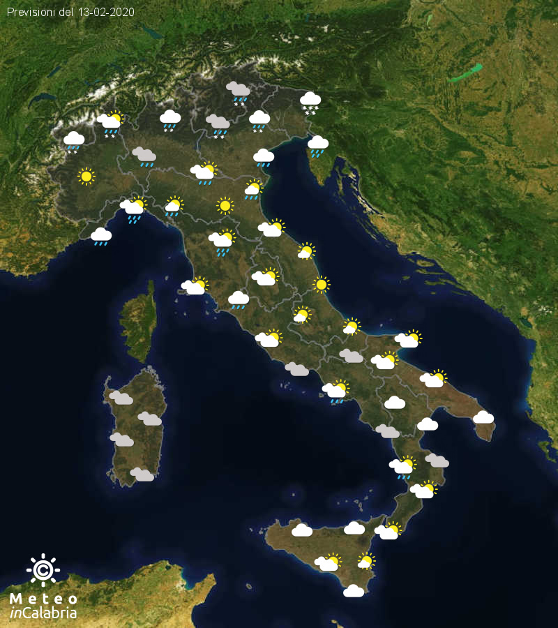 Previsioni del tempo in Italia per il giorno 13/02/2020