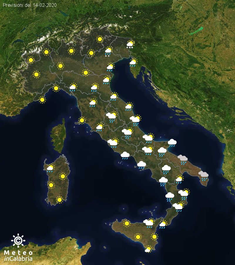 Previsioni del tempo in Italia per il giorno 14/02/2020