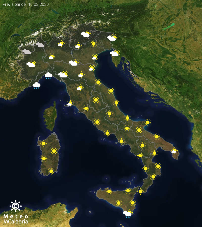 Previsioni del tempo in Italia per il giorno 16/02/2020