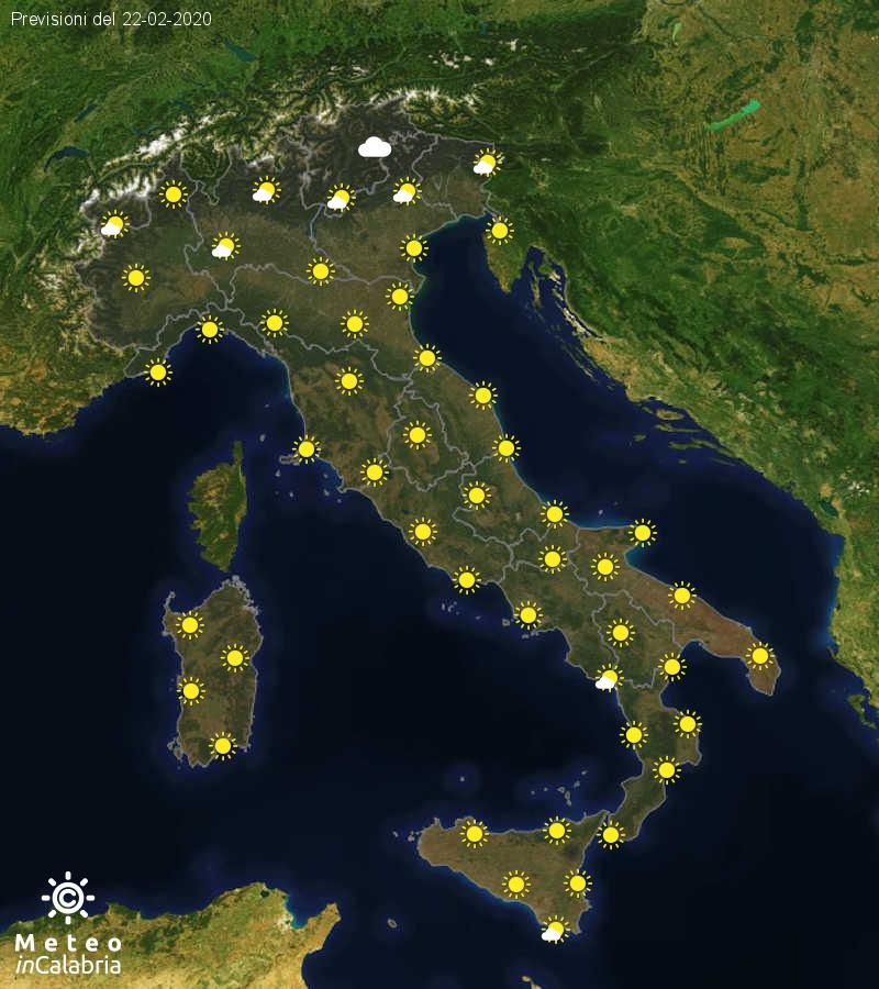Previsioni del tempo in Italia per il giorno 22/02/2020