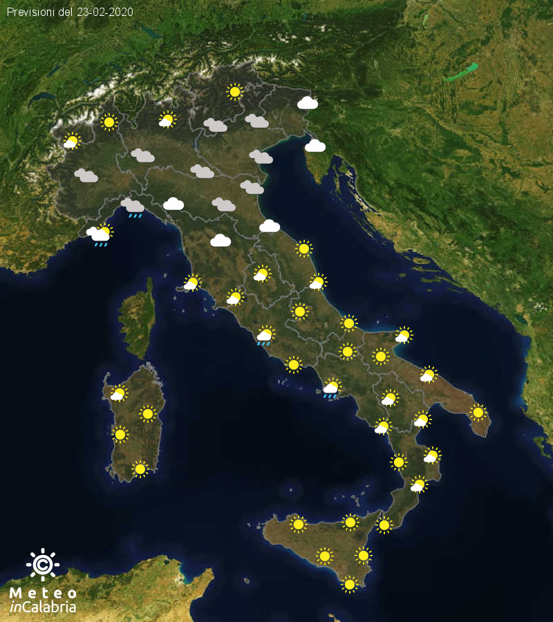 Previsioni del tempo in Italia per il giorno 23/02/2020