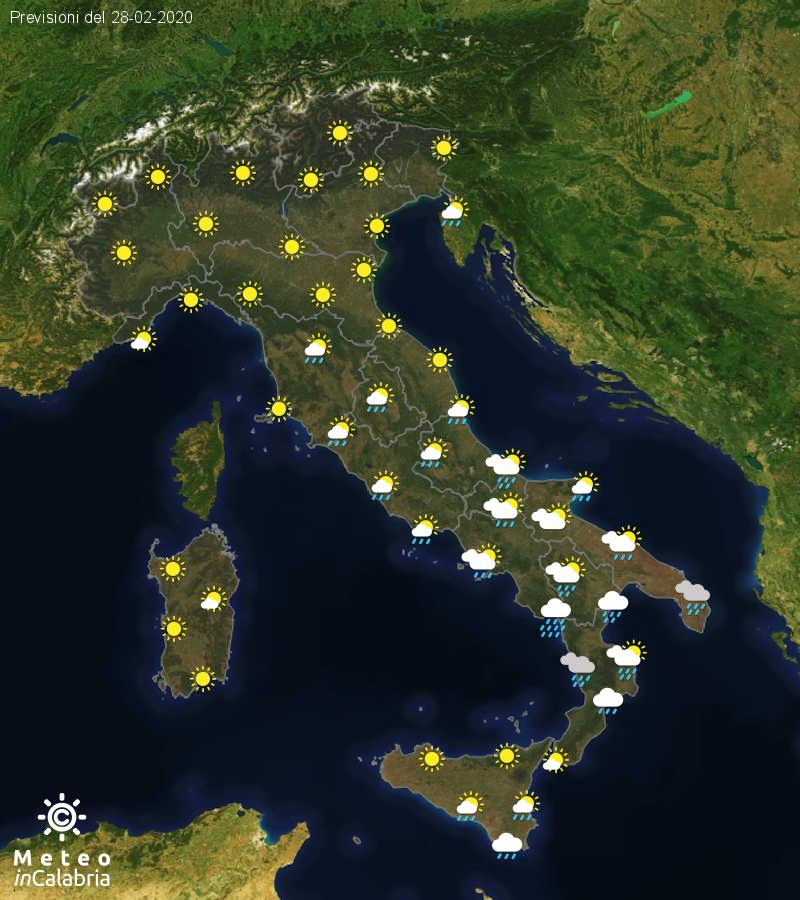 Previsioni del tempo in Italia per il giorno 28/02/2020