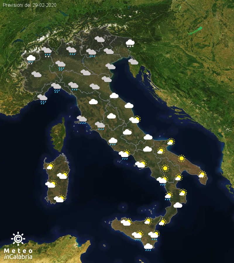 Previsioni del tempo in Italia per il giorno 29/02/2020