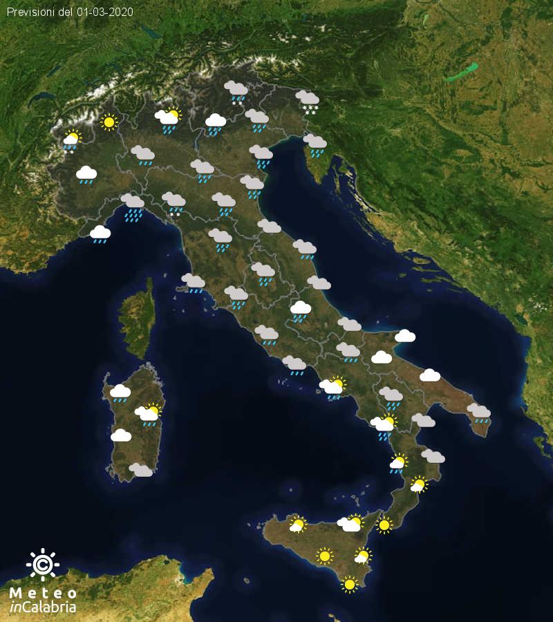 Previsioni del tempo in Italia per il giorno 01/03/2020