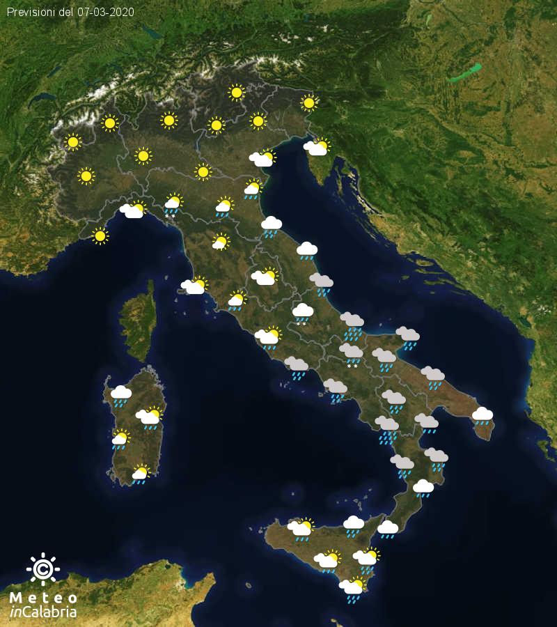 Previsioni del tempo in Italia per il giorno 07/03/2020