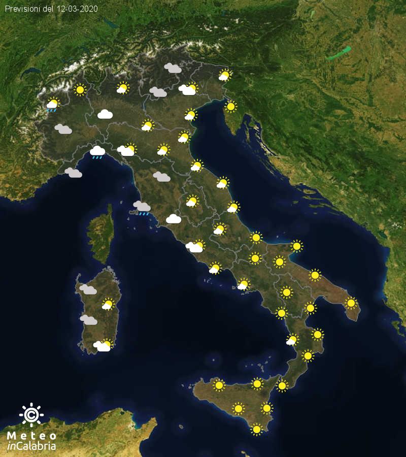 Previsioni del tempo in Italia per il giorno 12/03/2020
