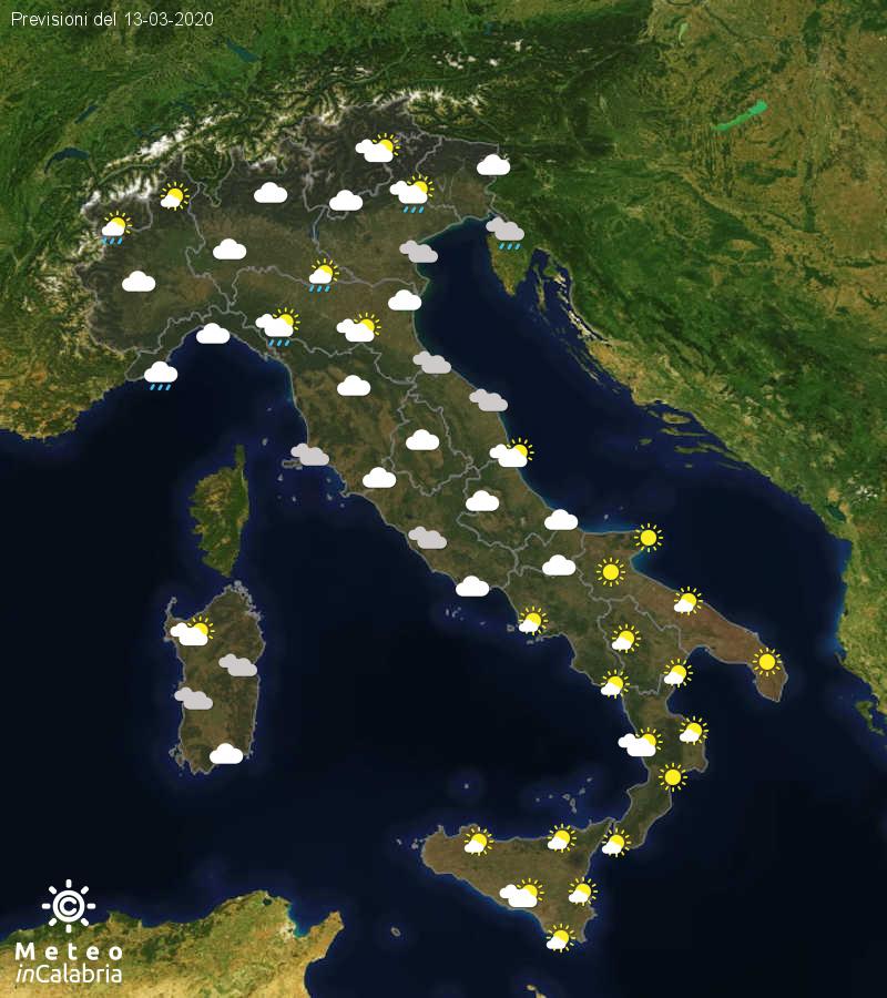 Previsioni del tempo in Italia per il giorno 13/03/2020