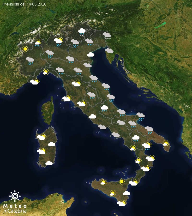 Previsioni del tempo in Italia per il giorno 14/03/2020