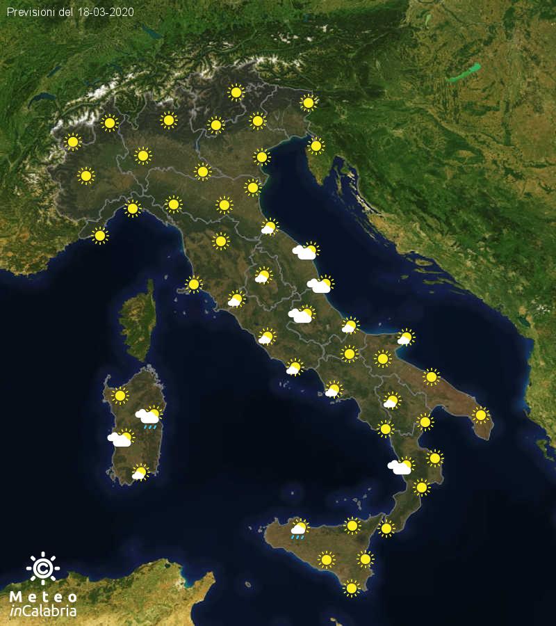 Previsioni del tempo in Italia per il giorno 18/03/2020