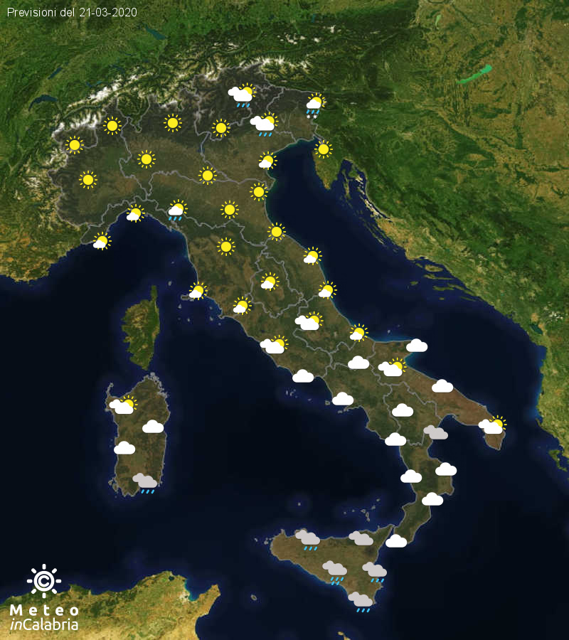 Previsioni del tempo in Italia per il giorno 21/03/2020